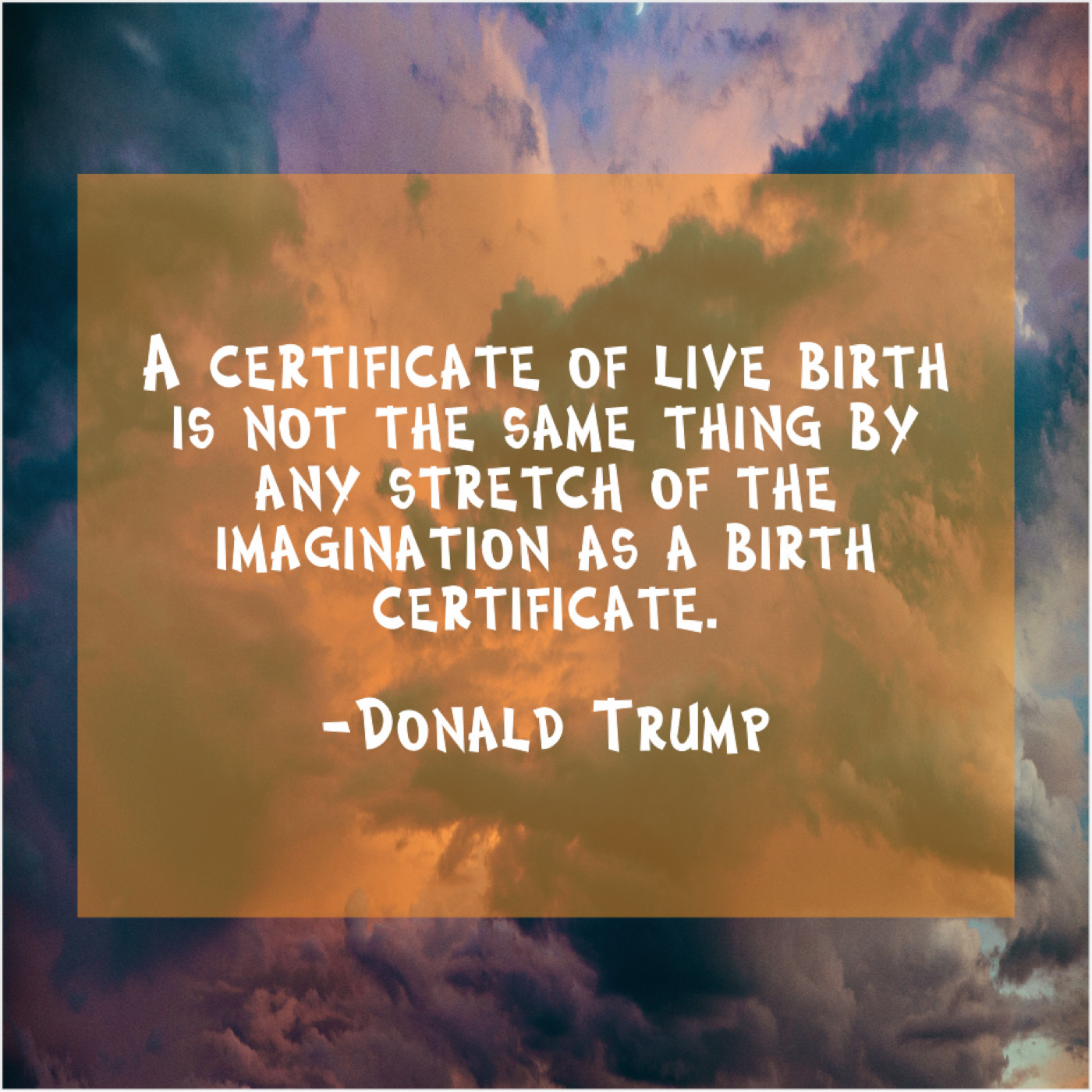 Donald Trump A Certificate Of Live Birth